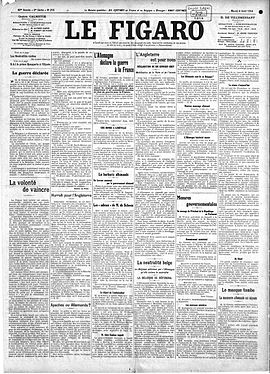 Front page of Le Figaro, 4 August 1914 Figaro 4 aout 1914.jpg