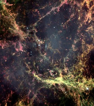 Crab Nebula - Hubble image of a small region of the Crab Nebula, showing Rayleigh–Taylor instabilities in its intricate filamentary structure.