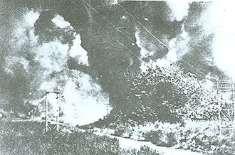Kingdom of Sarawak - Lutong oil refinery and storage facilities been destroyed by the British before the arrival of the Japanese.