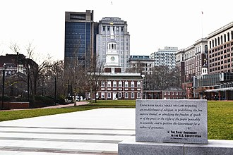 First Amendment to the United States Constitution - Inscription of the First Amendment (December 15, 1791) in front of Independence Hall in Philadelphia