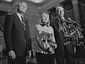 First Lady Hillary Clinton, Speaker of the House Tom Foley, and House Majority Leader Richard Gephardt speak at a press conference at the U.S. Capitol (cropped).jpg