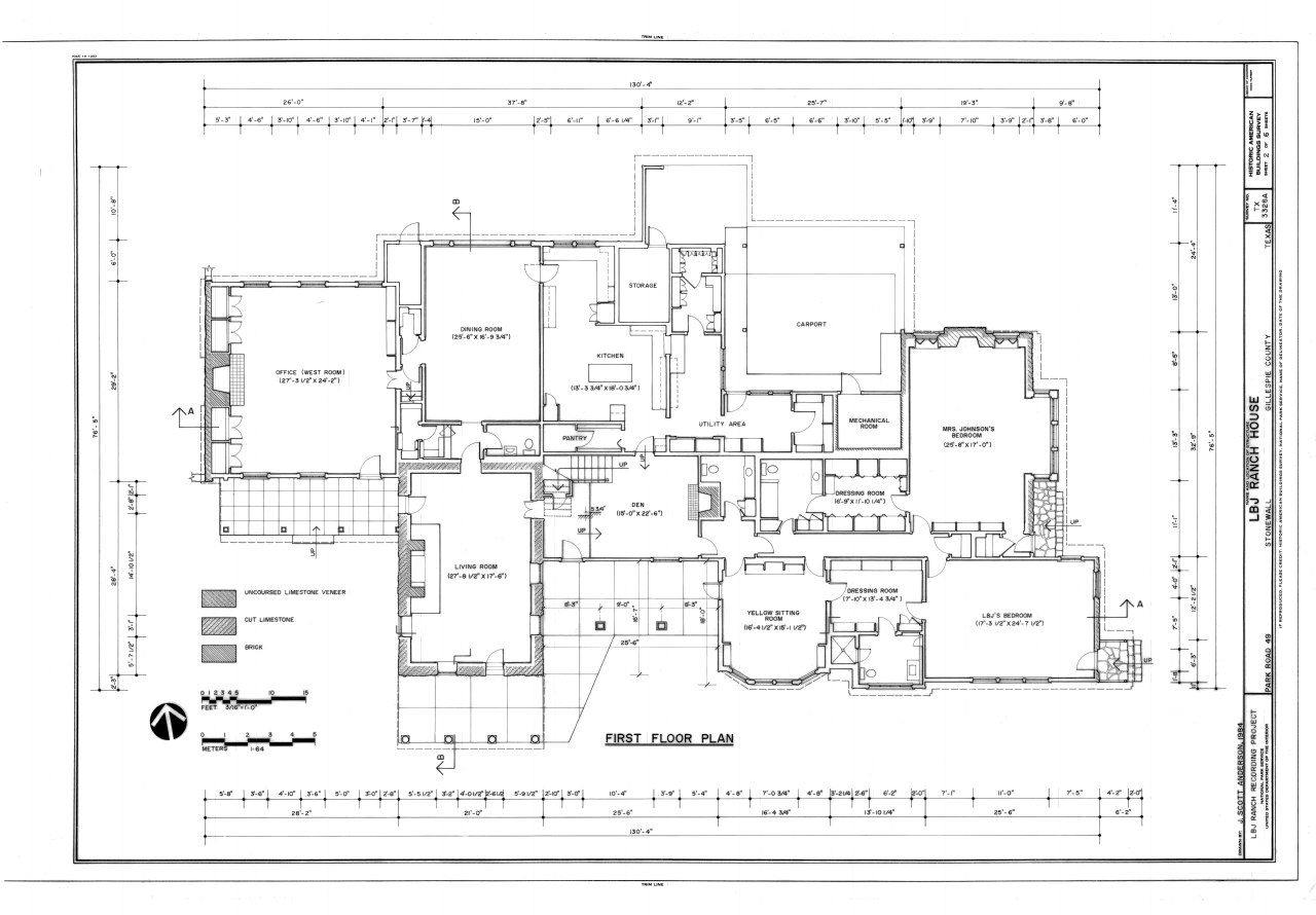 File first floor plan lyndon b johnson ranch house for Floor plans texas