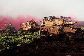 7th Armored Brigade (Israel) - 7th Brigade during a military exercise on the Golan Heights