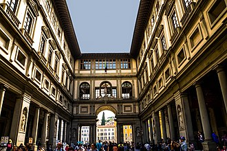 Uffizi - Narrow courtyard between palace's two wings with view toward the Arno