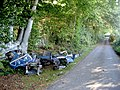Fly-tipped Robin Reliant on Stepneyford Lane near Benenden, Kent - geograph.org.uk - 578584.jpg