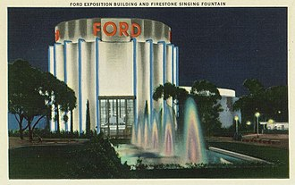 San Diego Air & Space Museum - Entrance of the Ford Building with Firestone Singing Fountains, 1935.