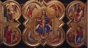 Exposition des primitifs flamands à Bruges - Image: Four lobed altarpiece with Jesus and saints Mark Luke John and Matthew
