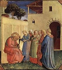 Aufnahme des Namens für die Taufe, Fragment eines Polyptychon