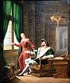 François 1er montre a Marguerite de Navarre sa soeur les vers qu il vient d écrire sur une vitre avec son diamant-Fleury François Richard-MBA Lyon 2014.jpeg