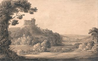 "Feudal barony of Okehampton - ""A view of Okehampton Castle and town taken in the park"", 1772 drawing by Francis Towne (1739–1816), Yale Center for British Art,   New Haven, USA"