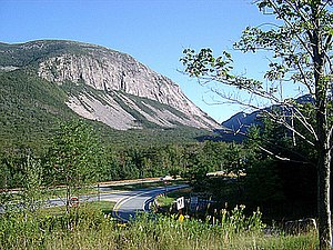 Franconia Notch - View of Franconia Notch, dominated by Cannon Mountain. A scree field can be seen at the bottom of the Cannon cliffs.