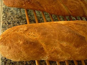 Fresh baked French bread in Houston, Texas.