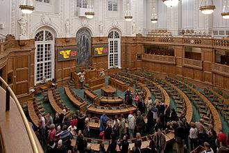 Politics of Denmark - The Folkting chamber inside Christiansborg Palace.