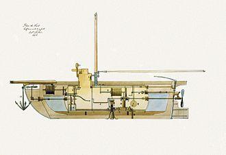 Nautilus (1800 submarine) - A cross-section of Fulton's 1806 submarine design.