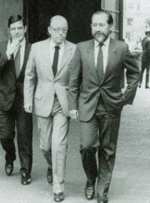 Independent Democratic Union - Joaquín Lavín, Jaime Guzmán and Jovino Novoa. c. 1990.