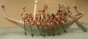 Ancient Egyptian trade - Model of a paddling funerary boat from the tomb of Meketre. From the time of the Twelfth dynasty of Egypt, early in the reign of Amenemhat I, circa 1931–1975 BCE.