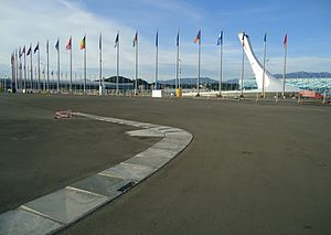 2014 Russian Grand Prix - The Sochi Autodrom was built on the site of the 2014 Winter Olympics in the city of Sochi. Seen here is the apex of turn 5 during construction, opposite the Medals Plaza.