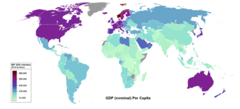 World map showing countries by nominal GDP per...