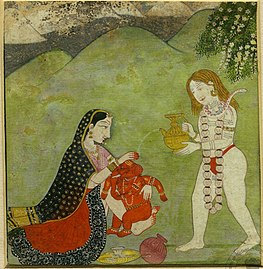 Shiva and Parvati giving a bath to Ganesha. Kangra miniature, 18th century. Allahabad Museum, New Delhi. Ganesha Kangra miniature 18th century Dubost p51.jpg