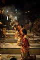 Ganga aarti with resin at Dasaswamedh Ghat, Varanasi.jpg
