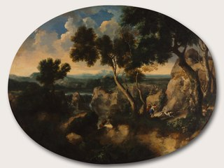Rocky Landscape with Hunters