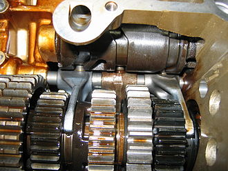 Cam - Motorcycle transmission showing cylindrical cam with three followers. Each follower controls the position of a shift fork.