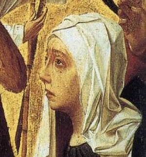 Man of Sorrows (Geertgen tot Sint Jans) - Detail showing Mary, mother of Jesus, with a tear on her cheek