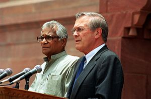 George Fernandes - Fernandes (left) with US Secretary of Defense Donald Rumsfeld in 2002