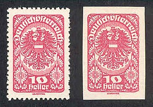 Postage stamp separation - Perforated and imperforate versions of the same Austrian stamp of 1920.