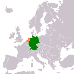 Map indicating locations of Germany and Netherlands