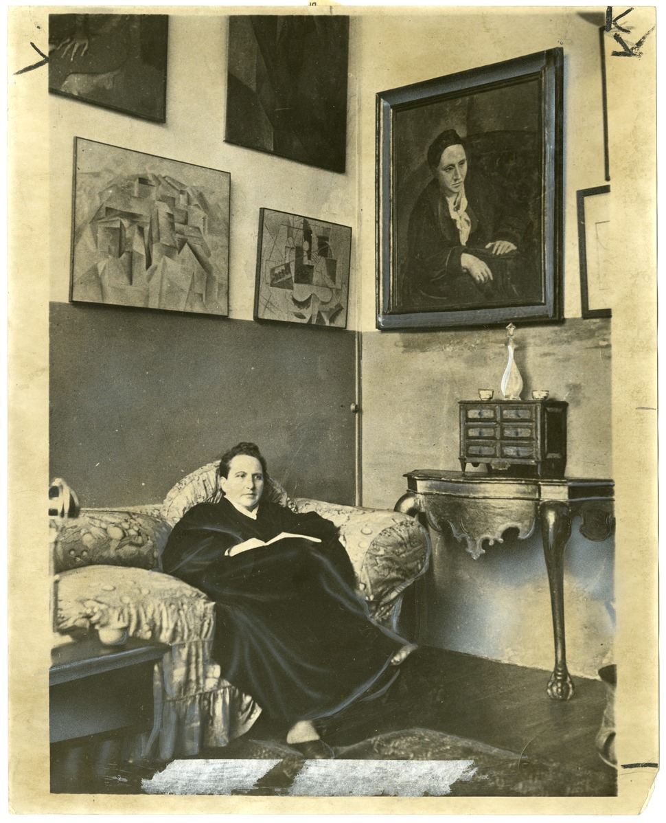 Gertrude Stein sitting on a sofa in her Paris studio - Library of Congress