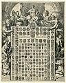 Geslachtswapens van prins Willem III in een allegorische omlijsting De LXIIII Geslacht Wapenen van de Prins van Oraenjen etc. en de Wapenen der 7 Vereenigde Nederlanden met hare Steden etc. (titel op object), RP-P-OB-46.697.jpg