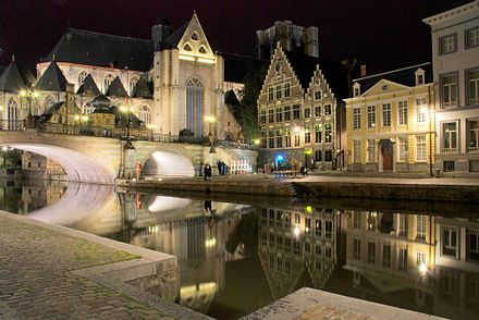 Ghent at night Ghent canal, night.jpg