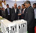 Ghulam Nabi Azad being briefed about the Safdarjung Redevelopment Project model, at the foundation stones laying ceremony of the Safdarjung Redevelopment Project, at Safdarjung Hospital, in New Delhi. The Secretary.jpg