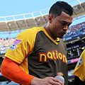 Giancarlo Stanton takes a breather during the T-Mobile Home Run Derby. (28498330791).jpg
