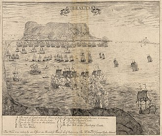 Capture of Gibraltar - Sketch of Gibraltar by an officer of Admiral Rooke's fleet on 1 August 1704