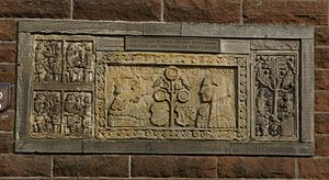 West Linton - Gifford's Stone, carved around 1660 by local mason James Gifford, on a house on the Main Street