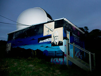 Gifford Observatory - Observatory Building entrance and mural showing Charles Gifford and telescope