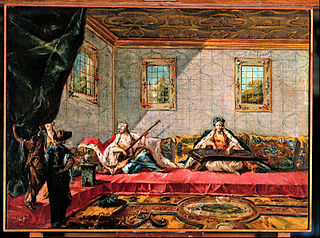 Two Odalisques Playing Music in the Harem