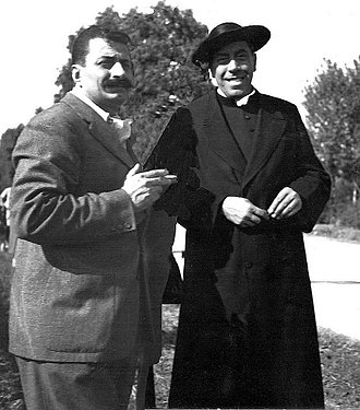 The Return of Don Camillo - Giovannino Guareschi and Fernandel on the set
