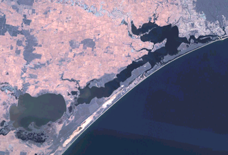 Gippsland Lakes - Landsat 7 imagery of the Gippsland Lakes. Lakes Entrance is visible in the top right of the image.