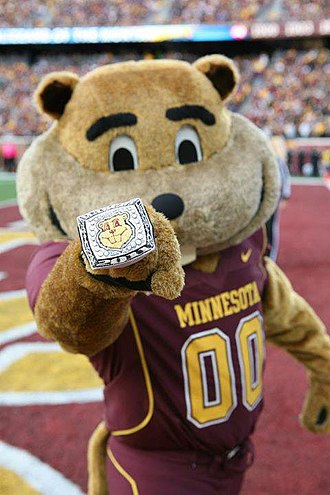 Minnesota Golden Gophers football - Goldy showing off his ring at a Gopher Football Game.