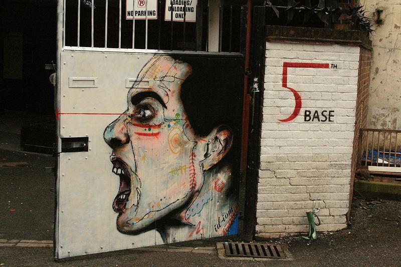 Oeuvre d'Id-iom à Heneage Street dans le quartier de Shoreditch.