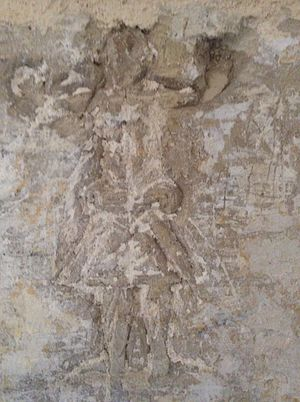 Graffiti - Figure graffito, similar to a relief, at the Castellania, in Valletta