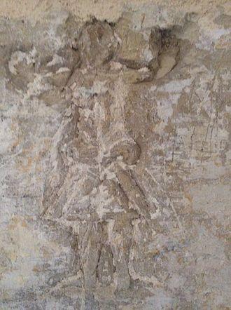 Graffiti - Figure graffito, similar to a relief, at the Castellania, in Valletta