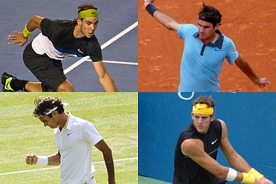 Grand Slam men's singles champions of 2009: Australian Open titlist Rafael Nadal, French Open and Wimbledon champion Roger Federer and US Open winner Juan Martín del Potro (top right, bottom left and right).