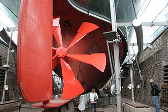 Propeller - A replica of SS Great Britain's first propeller was created for this museum ship. The real propeller was replaced with a four-bladed model in 1845. The SS Great Britain was initially designed to have paddles but the design was modified after screw propellers were proven to be more effective and efficient.