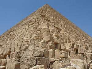 Egyptian pyramid construction techniques - Average core blocks of the Great Pyramid weigh about 1.5 tons each, and the granite blocks used to roof the burial chambers are estimated to weigh up to 80 tons each.