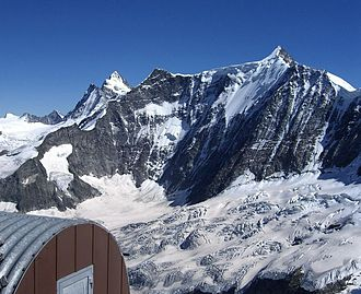 Bernese Alps - The north face of Fiescherhorn with the Finsteraarhorn in the back (left)