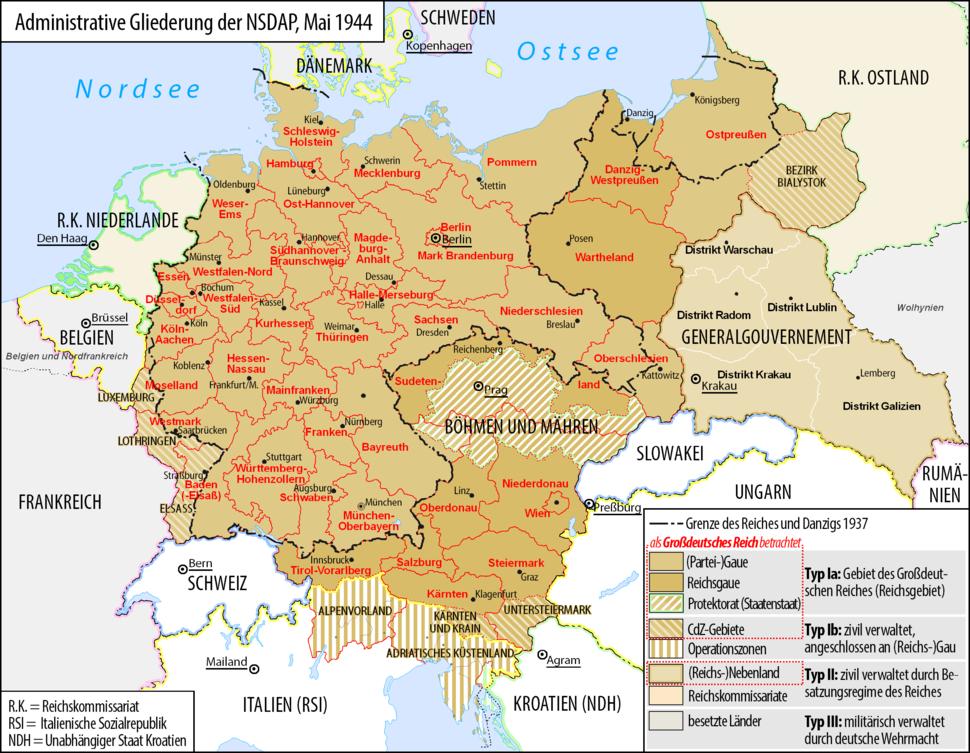 Grossdeutsches Reich NS Administration 1944